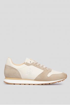 Мужские белы кожаные кроссовки