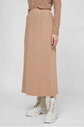 Женская бежевая шерстяная юбка 1