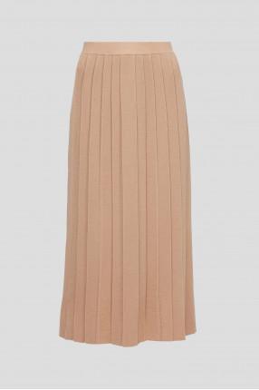 Женская бежевая шерстяная юбка