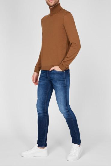 Мужские синие джинсы 5