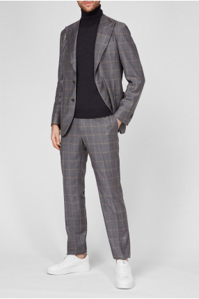 Мужской серый шерстяной костюм в клетку (блейзер, брюки) 1