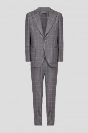 Мужской серый шерстяной костюм в клетку (блейзер, брюки)
