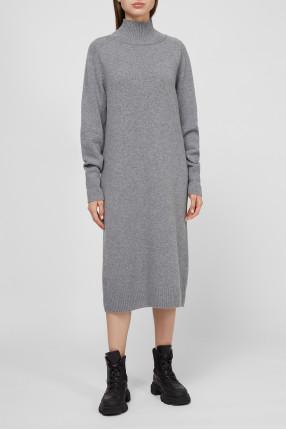 Женское серое шерстяное платье 1