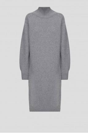 Женское серое шерстяное платье