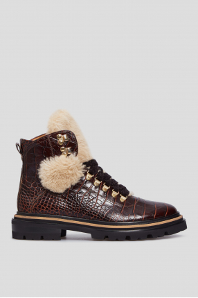 Женские коричневые кожаные ботинки