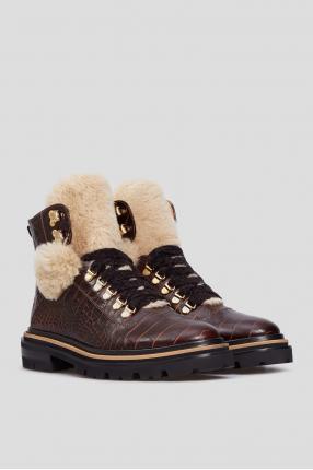 Женские коричневые кожаные ботинки 1