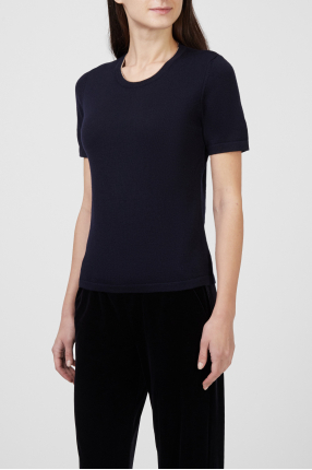 Женская темно-синяя шерстяная футболка 1