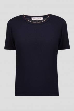 Женская темно-синяя шерстяная футболка