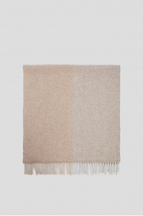 Женский бежевый шерстяной шарф 1