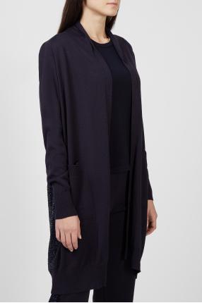 Женский темно-синий шерстяной кардиган 1