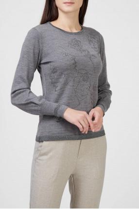 Женский серый шерстяной джемпер 1