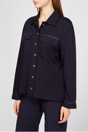 Женская темно-синяя рубашка 1