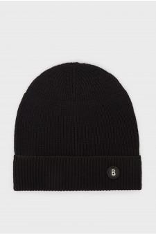 Мужская черная шерстяная шапка