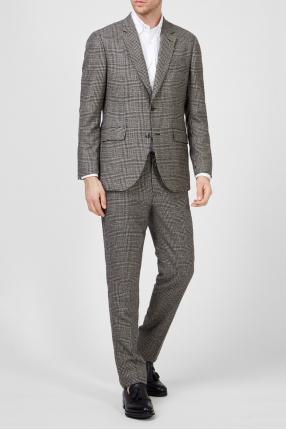 Мужской шерстяной костюм в клетку (пиджак, брюки) 1