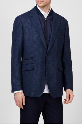Мужской темно-синий шерстяной пиджак в клетку 1