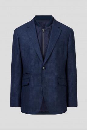 Мужской темно-синий шерстяной пиджак в клетку