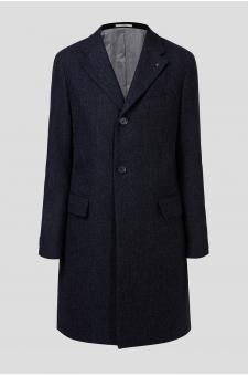 Чоловіче темно-синє вовняне пальто