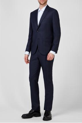 Мужской темно-синий шерстяной костюм в клетку (пиджак, брюки) 1