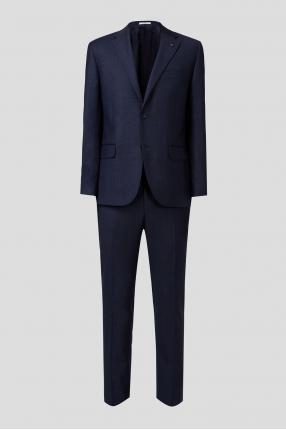 Мужской темно-синий шерстяной костюм в клетку (пиджак, брюки)