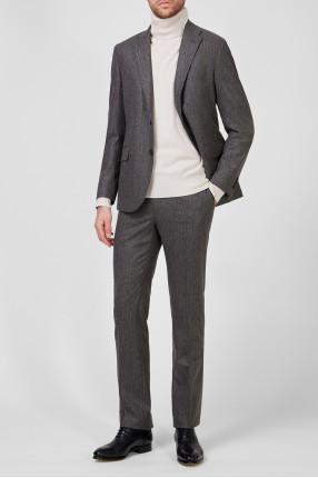 Мужской коричневый шерстяной костюм (пиджак, брюки) 1