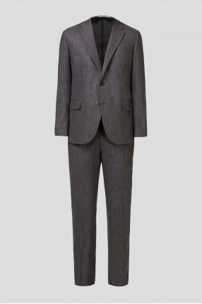 Мужской коричневый шерстяной костюм (пиджак, брюки)