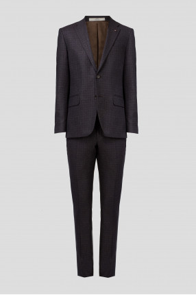 Мужской шерстяной костюм в клетку (пиджак, брюки)