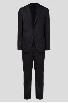 Чоловічий чорний вовняний костюм в клітинку (блейзер, брюки)