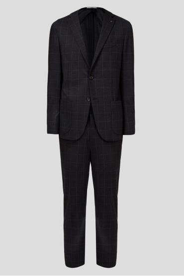 Чоловічий чорний вовняний костюм в клітинку (блейзер, брюки) 1