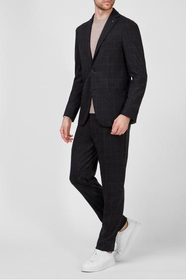 Чоловічий чорний вовняний костюм в клітинку (блейзер, брюки) 5