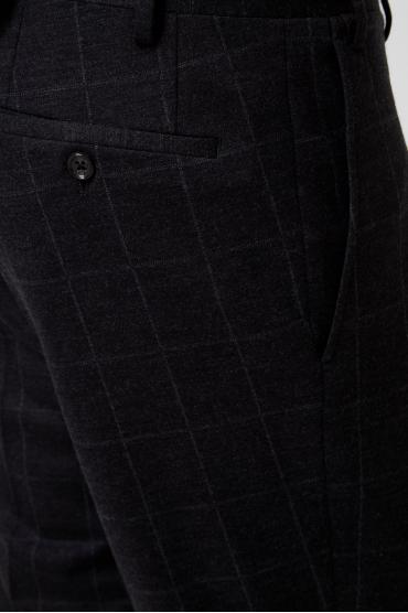 Чоловічий чорний вовняний костюм в клітинку (блейзер, брюки) 4