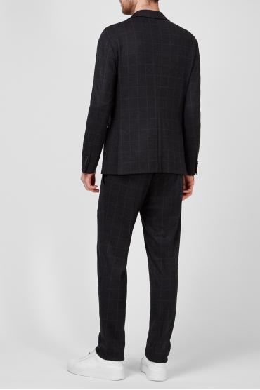 Чоловічий чорний вовняний костюм в клітинку (блейзер, брюки) 3