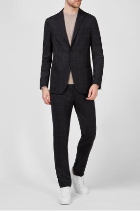 Мужской черный шерстяной костюм в клетку (блейзер, брюки) 1