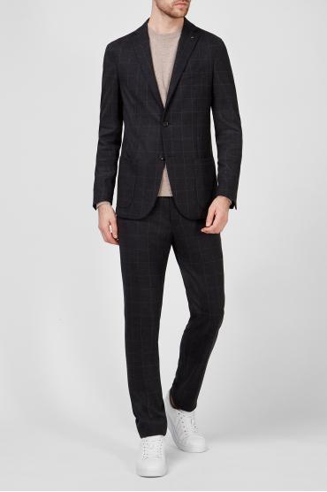 Чоловічий чорний вовняний костюм в клітинку (блейзер, брюки) 2
