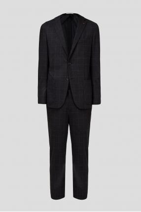 Мужской черный шерстяной костюм в клетку (блейзер, брюки)