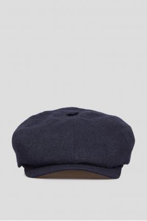 Мужское темно-синее льняное кепи
