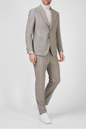 Мужской серый шерстяной костюм в полоску (блейзер, брюки) 1
