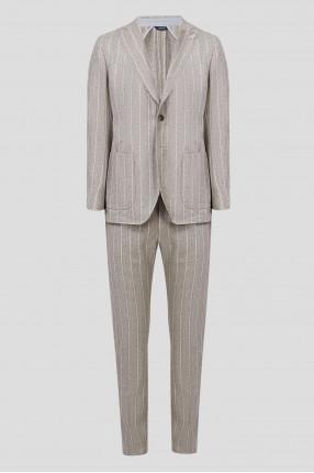 Мужской серый шерстяной костюм в полоску (блейзер, брюки)