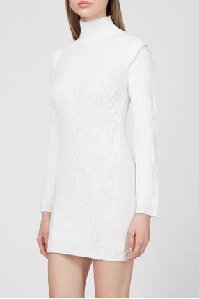 Женское белое шерстяное платье 1