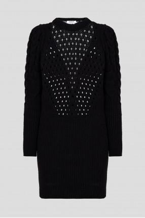 Женское черное шерстяное платье