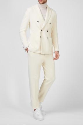 Мужской белый вельветовый костюм (блейзер, брюки) 1