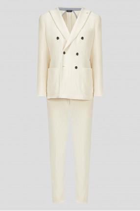 Мужской белый вельветовый костюм (блейзер, брюки)