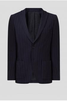 Мужской темно-синий шерстяной блейзер