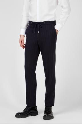 Мужские темно-синие шерстяные брюки в полоску 1