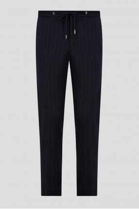 Мужские темно-синие шерстяные брюки в полоску