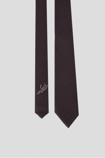 Мужской коричневый шелковый галстук 2