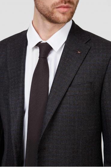 Мужской коричневый шелковый галстук 4