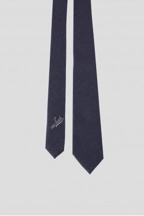 Мужской темно-синий шелковый галстук 1