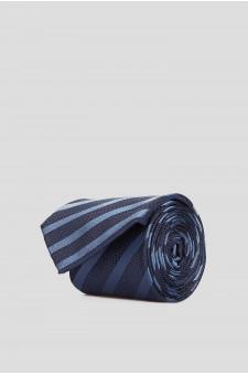 Мужской темно-синий шелковый галстук в полоску