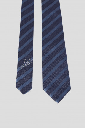 Мужской темно-синий шелковый галстук в полоску 1