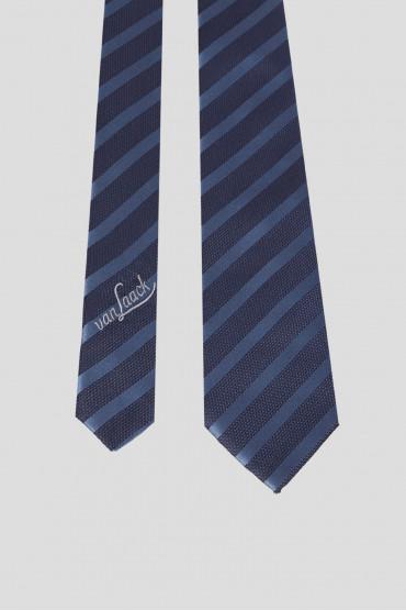 Мужской темно-синий шелковый галстук в полоску 2